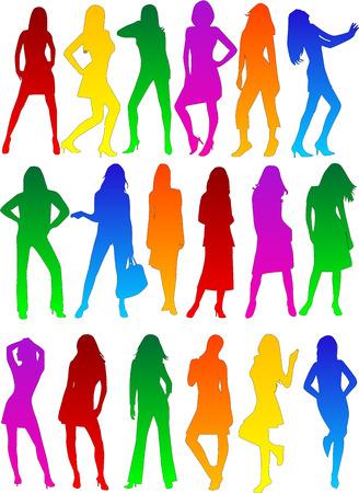 show of hands: Sfilata di moda donna profili, vettori di lavoro