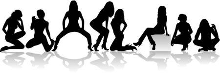 Sexy meisjes groep vector silhouetten