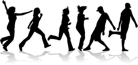Mensen silhouet - vrouwen mannen Stock Illustratie