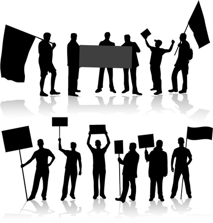 Demonstartion People - black silhouette Ilustrace