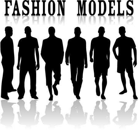 Fashion modellen-vector werk, zwarte silhouetten Stock Illustratie