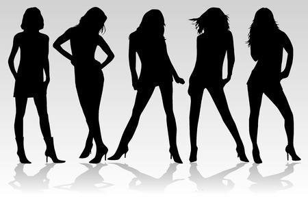 silueta bailarina: Hermosas mujeres - moda   Vectores