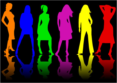male fashion model: Beautiful girls - color , vector work
