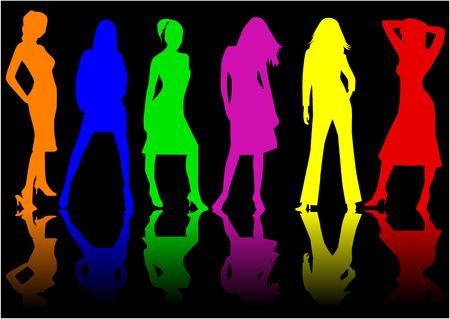 alzando la mano: Chicas guapas - color, trabajo de vectores Vectores
