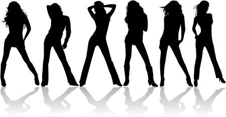 Mooie vrouwen - mode - vector werk  Vector Illustratie