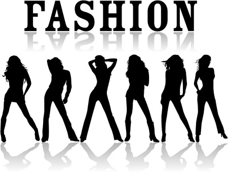 Fashion - vector work , black silhouettes Stock Vector - 8741804