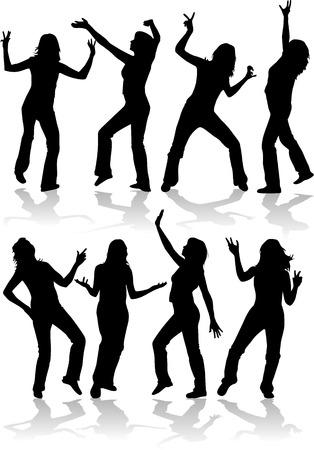 Silhouettes de femmes, danser les gens Banque d'images - 8741807