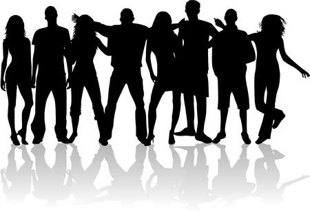 Friends - young people, vector work Vector