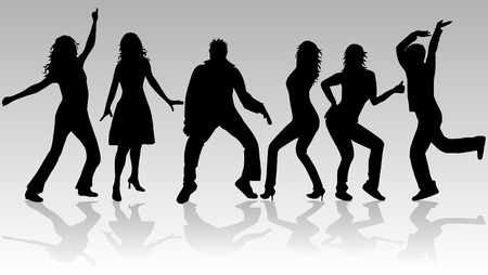 People dancing, Silhouettes of people dancing