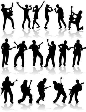 guitariste: Musique et la chanson (vecteur) Illustration