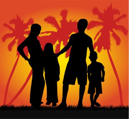 enfant maillot de bain: Famille sur les vacances, vecteur de travail