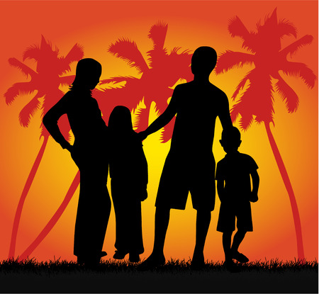 Family on vacations , vector work Illustration