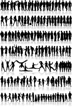 silhouette contour: New big collection of people in vectors