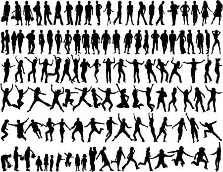 dynamic movement: Personas en diferentes situaciones Vectores