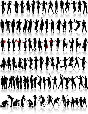 silueta humana: Gran colección de silueta Vectores