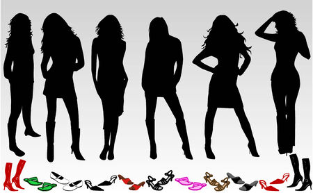 tall woman: Woman and shoes  Illustration