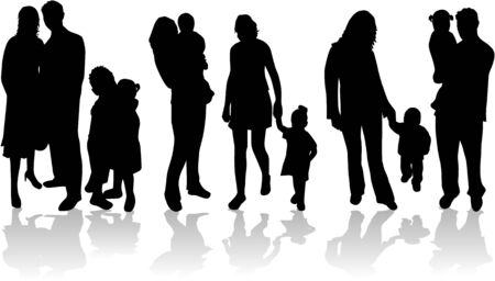 Vector silhouettes of parents with children, illustration Vector