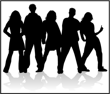 Looking Forwad People , vectors Silhouettes Vector