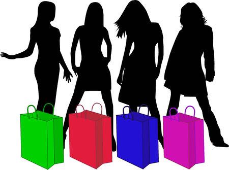 fashion shopping: Siluetas, trabajo de Vector de compras