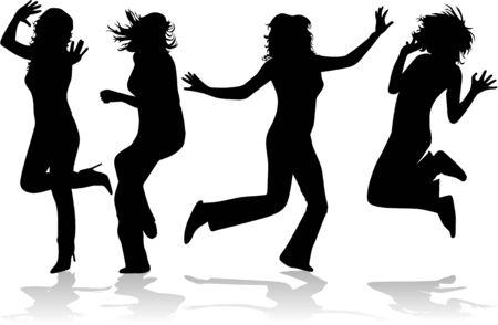 Fantastic girls jump  Illustration