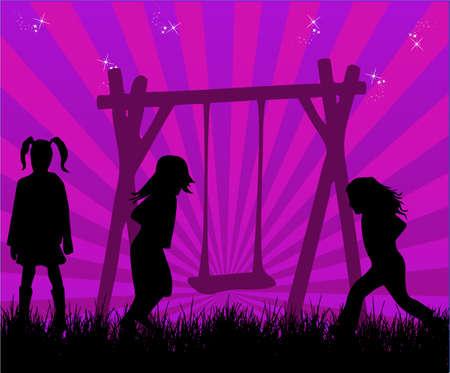 copule: Happy Children Playing, vector work