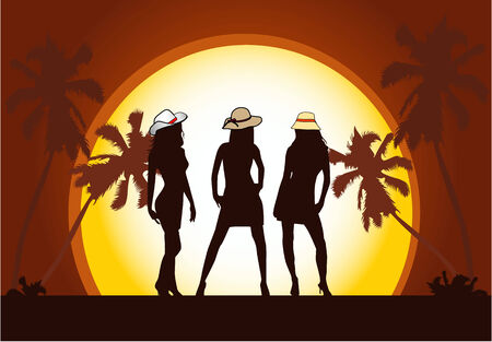 Beautiful  girls on beach  Vector