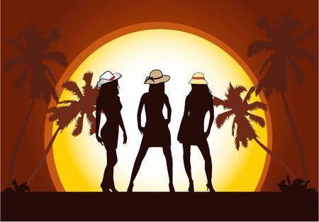 swim cap: Beautiful  girls on beach