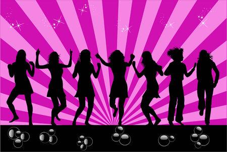 pretty teen girl: Womans  dancing profile  Illustration