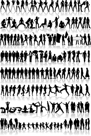People Mix  Silhouettes, vector work Vector