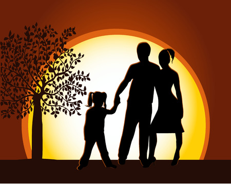 Walking Familly Stock Vector - 8933671