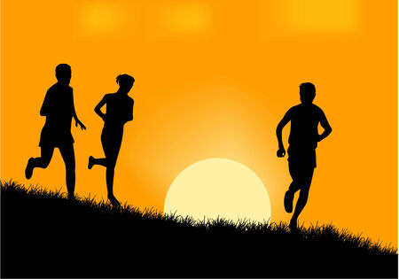 People running silhouette vector