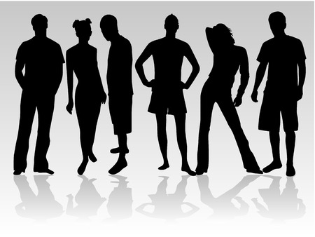 Standing figures of people Vector