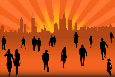 ocupation: City street crowd  Illustration