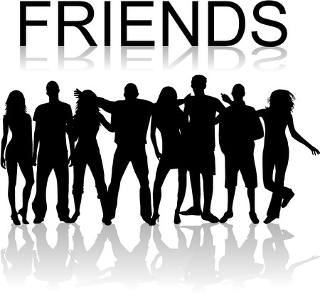 group of friends: Friends - vectors work , black silhouettes