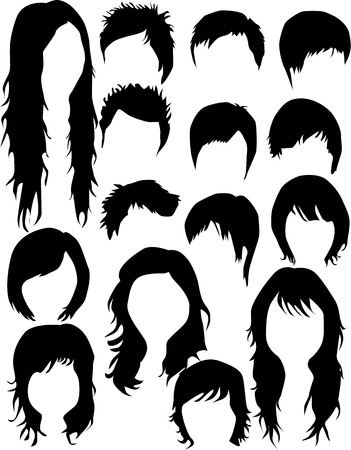 toupee: Hair - dress  (women and men), Vector work Illustration