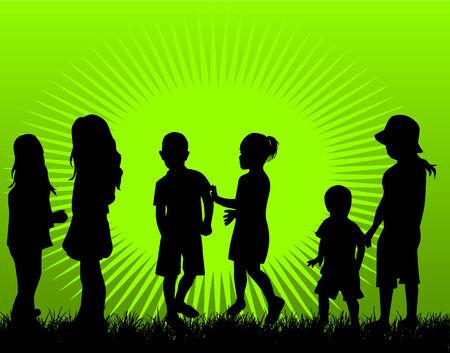 copule: Playing children, vector illustration