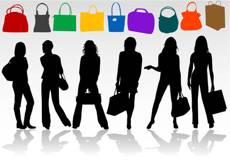 Winkelen meisjes  Stock Illustratie