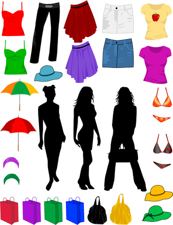 teenage girl dress: clothes and fashion accessories Illustration