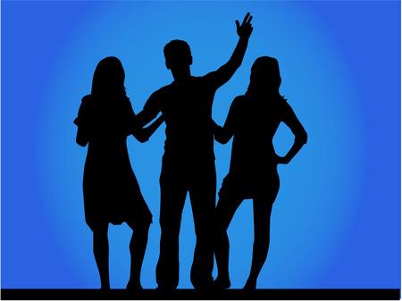 mejores amigas: Grupo de amigos - vector silueta