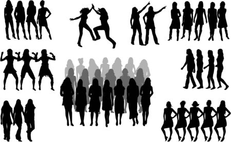 Large group of women - silhouette vector  Vector