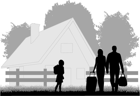 Agritourism - a family on vacation Stock Vector - 8933780