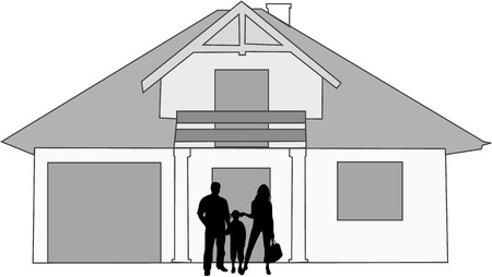family and her house Stock Vector - 8934935