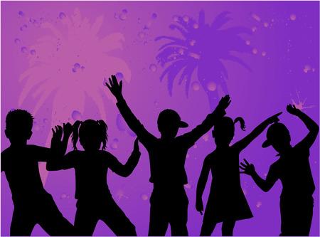 Silhouetten van kinderen - paarse achtergrond met palm Stock Illustratie