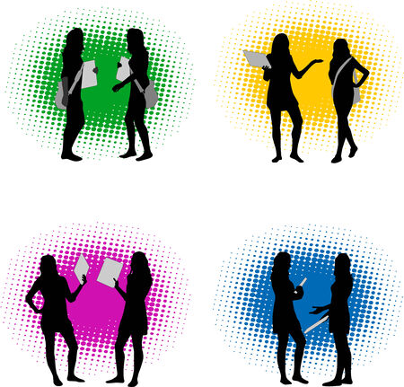 Vector silhouette girls  Stock Vector - 8933783