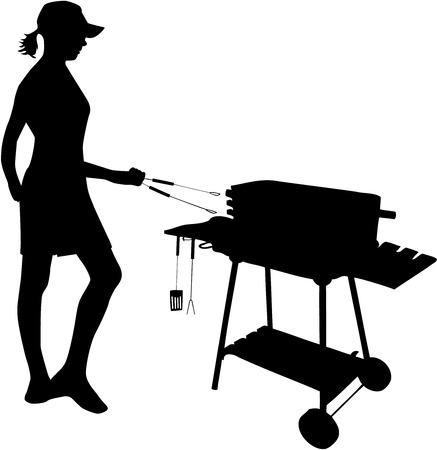 grill meat: Griller-figure de femme debout par le gril