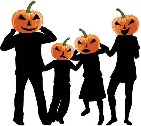 Halloween - silhouette of a family Vector