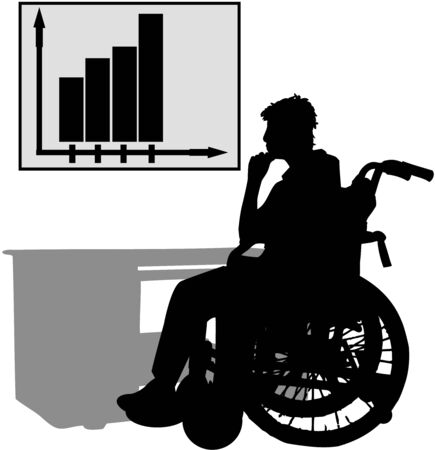 Disabled at work Stock Illustratie