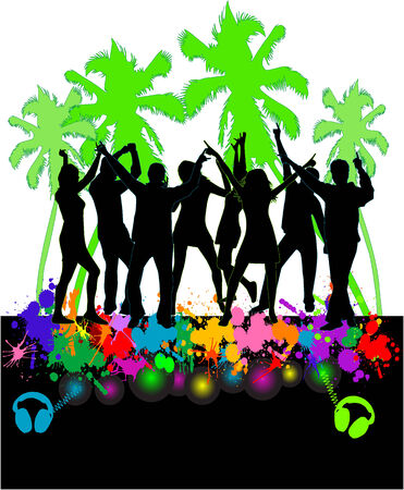 The event at the beach-colored background  Vector