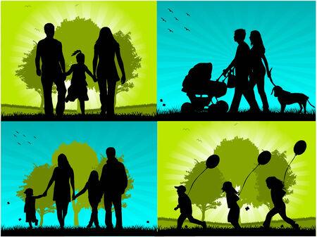 Familie - vier beelden Stock Illustratie