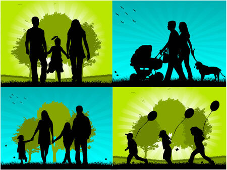 man outdoors: Family - four images Illustration